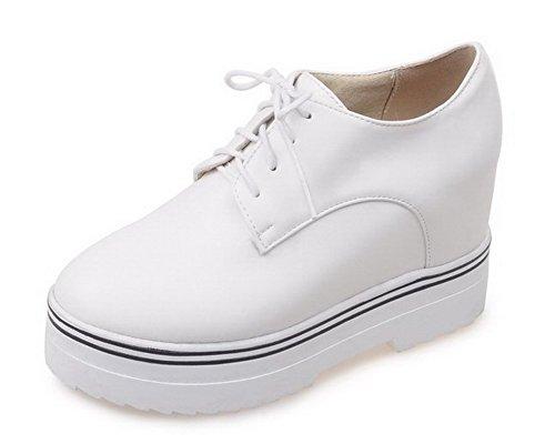AllhqFashion Damen Pu Leder Schnüren Rund Zehe Hoher Absatz Pumps Schuhe Weiß