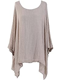ec3062b37bb New Ladies Lagenlook Batwing Top Women Plain Linen Tunic Top Plus sizes