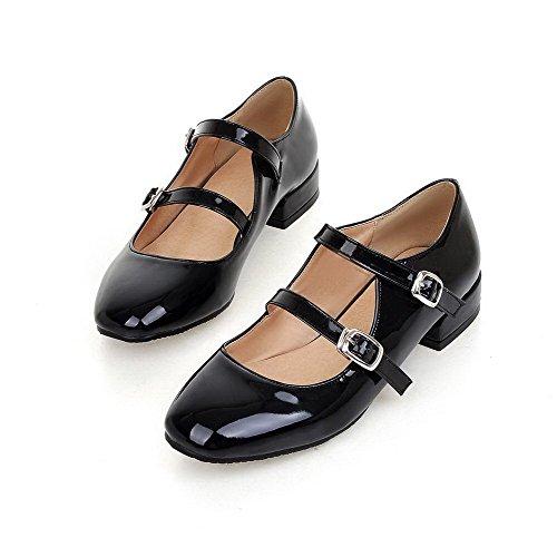 AgooLar Femme Pu Cuir Couleur Unie Boucle Carré à Talon Bas Chaussures Légeres Noir