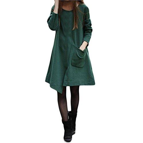 Damen Reine Farbe Reine Baumwolle große Tasche Lange Ärmel Lose Lange Abschnitt Kleid