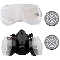 A-SZCXTOP Respirador Doble Cartucho Anti - Polvo Mascara con Gafas y 2 Cajas de Filtro
