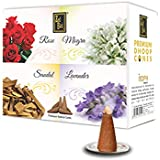 Zed Black Dhoop Cones Boxes (Rose, Mogra, Sandal and Lavender, Multicolour) - Pack of 12