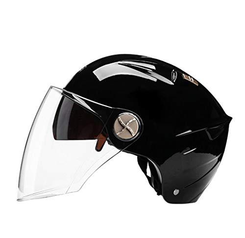 Yunyisujiao Motorradhelm Männer Und Frauen Winter Warme Jahreszeiten Universal Leichte Helme Abnehmbarer Latz (Color : SUB Black, Size : 56CM) - Rennen-tag-tee