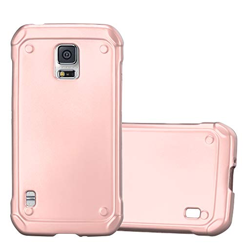 Cadorabo Hülle für Samsung Galaxy S5 Active - Hülle in METALLIC Rose Gold - Handyhülle aus TPU Silikon im Matt Metallic Design - Silikonhülle Schutzhülle Ultra Slim Soft Back Cover Case Bumper (Skin Für Galaxy S5 Active)