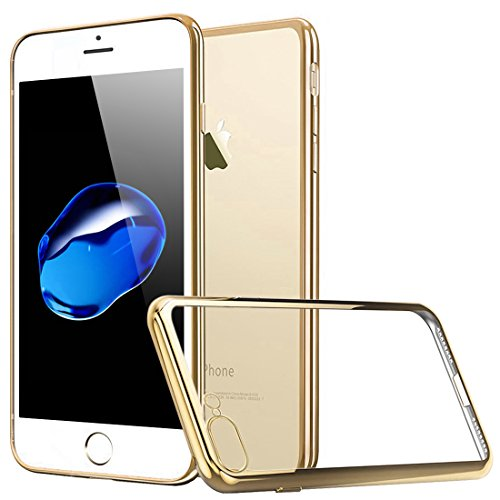 iPhone 7 Plus Hülle, Orlegol Weiche Silikon Hülle iPhone 7 Plus Kratzfeste Plating TPU Tasche Case Cover Bumper Klar Hülle Durchsichtig Handyhülle für iPhone 7 Plus (Gold)