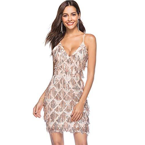 20er V-Ausschnitt Pailletten Quaste Gatsby Flapper Kleid Charleston Party Kleid,Pink,L ()