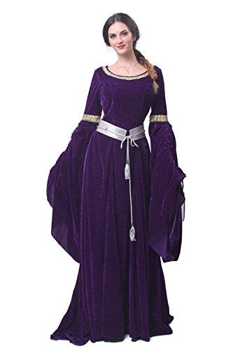 Nuoqi Mittelalterliches Damen Kostüm, Karneval Cosplay Party Kleid, Langarm Mittelalter Abendkleid mit Renaissance Gotisch Stil, - Renaissance Stil Kostüm