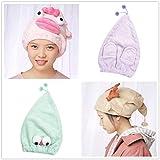 Gaddrt Kappe für trockenes Haar Karikatur-Mikrofaser-Haar-Turban schnell trockenes Haar-Hut wickelte Handtuch-Badekappe EIN 40x24cm (Grün)