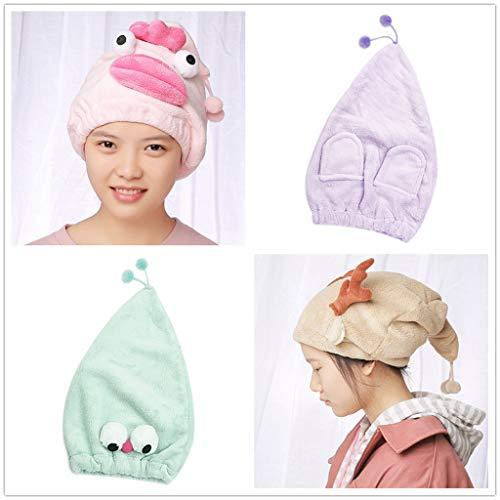 Gaddrt Kappe für trockenes Haar Karikatur-Mikrofaser-Haar-Turban schnell trockenes Haar-Hut wickelte Handtuch-Badekappe EIN 40x24cm (Braun)