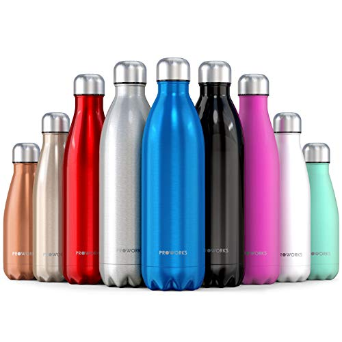 Proworks Bottiglia Acqua in Acciaio Inox, Senza BPA Vuoto Isolato Borraccia Termica in Metallo per Bevande Calde per 12 Ore & Fredde 24 Ore, Borraccia per Sport, Lavoro e Palestra - 1000ml - Blu