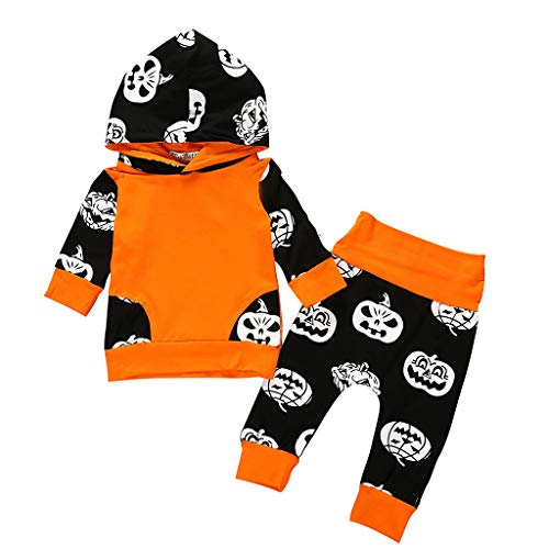 ShaDiao Kids Baby Girls Halloween Outfits Clothes Print Hooded T-Shirt Pants Set Langärmlige Bluse - Hose Zweiteilige