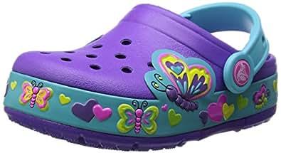 Crocs CrocsLights Butterfly Clog PS, Mädchen Clogs, Violett (Neon Purple/Aqua 5B3), 33/34 EU