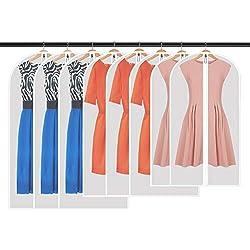 WILWOLF 8 Stücke Kleidersack,120 x 60 cm + 100 x 60 cm+80x60cm Kleidersäcke, Hochwertiger Anzugsack Transparent Atmungsaktivem, für Anzüge Kleider Mäntel Sakkos Hemden Abendkleider Anzugsack Aufbewahrung