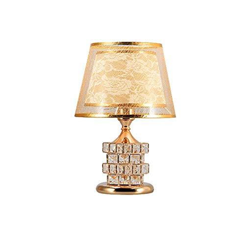 Chandelierdelicate Design Crystal Base Schlafzimmer Wohnzimmer Beistelltischlampe, Crystal Rubiks Cube Perlen Tischlampe, mit Goldschirm Lampenschirm E27 * 1 (Cube Crystal Led Light Base)
