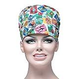 FENICAL Gommage Cap Coton Tampon Imprimé Cravate Réglable Médecin Infirmière Cap Chirurgie Chapeau Unisexe Médecin Infirmière Cap