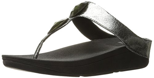 FitFlop Pierra Tm, Infradito Donna, Argento (Pewter), 42 - 8 UK