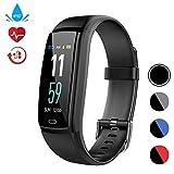 Fitness Tracker Pulsmesser Activity Tracker Watch Farbdisplay Smart Armband mit Schlafmonitor und Blutdruck IP67 Wasserdicht Smart Armband für Android und IOS (Y9-Black)