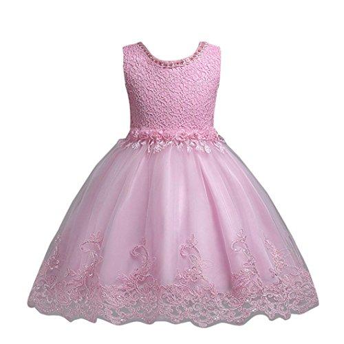 Mädchen Kleider Festliche Kinderkleider Longra Mädchen Lange Kleid Spitzenkleid mit Blumen Kinder Prinzessin Kostüm Tutu Kleid Brautjungfern Hochzeitskleider Partykleid (Pink, 100CM 3Jahre) (Schuhe Rosa Kleid)