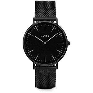 Cluse Damen Armbanduhr Analog Quarz Edelstahl, schwarz, CL18111