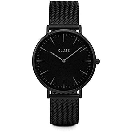 Cluse Damen Armbanduhr Analog Quarz Edelstahl, schwarz, CL18111 -