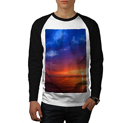 Meer Sonnenuntergang Nacht Natur Fluss Sonnenuntergang Men XXL Baseball LS T-shirt | Wellcoda (Fluss-baseball-jersey)