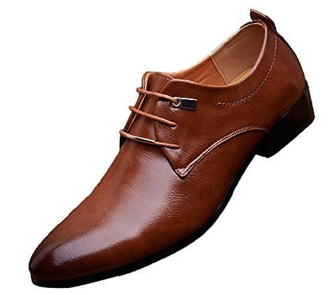 Anlarach Pointe Toe Dress Derby En Cuir Noir Pour Homme Chaussures Marron 43 EU