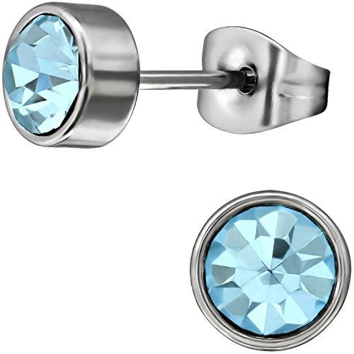 EYS JEWELRY runde Kristall Damen Ohrstecker 316L Chirurgenstahl 7 mm aquamarin-blau Ohrringe Edelstahl - Aquamarin Ohrstecker Runde