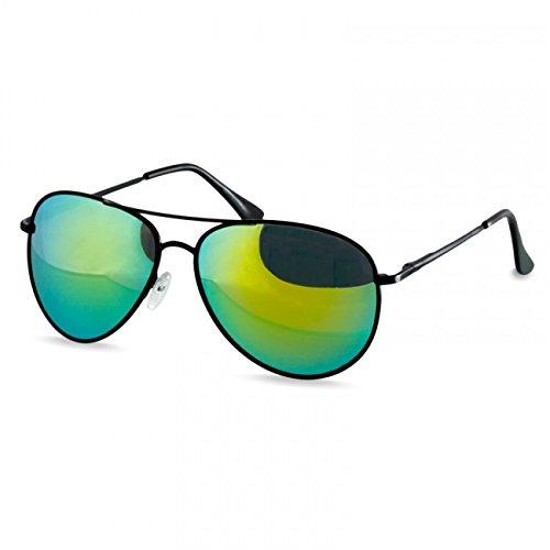 Caspar SG013 klassische Unisex Retro Piloten Sonnenbrille, Farbe:schwarz/grün gold verspiegelt