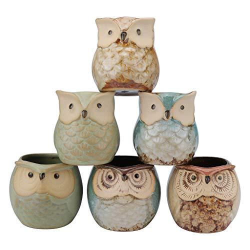suunymi Home Storage Lot de 6 Pots de bonsaï en céramique 6,3 cm avec Trou, Céramique, b, 2.2 x 2.2 x 2.4 inch (L x W x H)