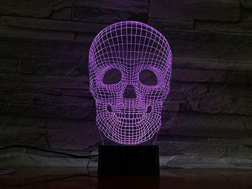3D Nachtlicht Neuer Schädel 3D führteLampen-Halloween-Geschenk-Stimmungs-buntes erschrockenes Thema-Geisterhaus-Dekor-Nachtlicht-Stadiums-Beleuchtung