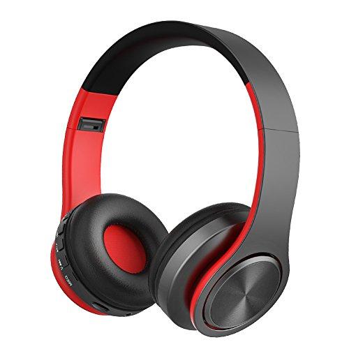 Cascos Bluetooth Inalámbrico Estéreo de Alta Fidelidad Auriculares de Diadema Cerrados con Micrófono, Manos Libres y Cable de Audio Orejeras Suaves para iPad, iPhone, Móviles Android, Ordenador, Tablet PC (Rojonegro)