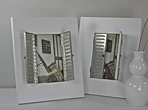 2 x Photo bois, persiennes cadre photo en bois blanc de style vieilli campagnard