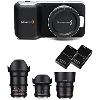 Kit Blackmagic Cinema Camera Pocket avec Samyang Cinema n°3 objectifs 14-35-85mm bague d'adaptation (EOS I) + 2 original batterie Blackmagic + 1 chargeur