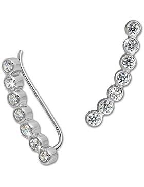 SilberDream Damen Ohrringe Ear Cuff 7 Zirkonias Ohrringe Ohrklemme 925 Silber GSO414W