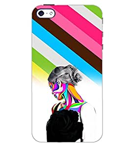 PrintDhaba COLOURFUL GIRL D-6669 Back Case Cover for APPLE IPHONE 5 (Multi-Coloured)