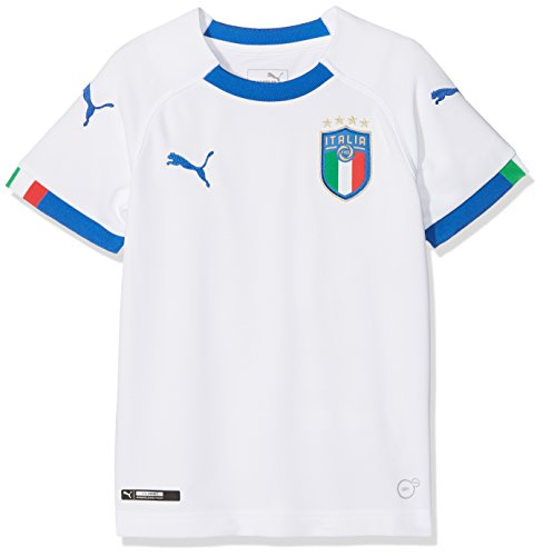 d9d7077445b Puma FIGC Italia Kids Away Replica SS Camiseta, Niños, (Blanco/Azul Power