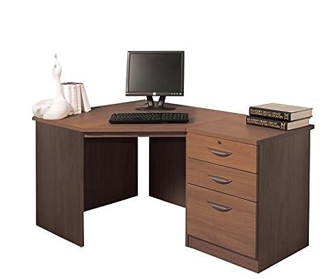 Home Office Furniture UK Drawer Desk Filing Cabinet Living Room Corner Table Set, Wood, Teak, wood Grain Profile, 3-Piece