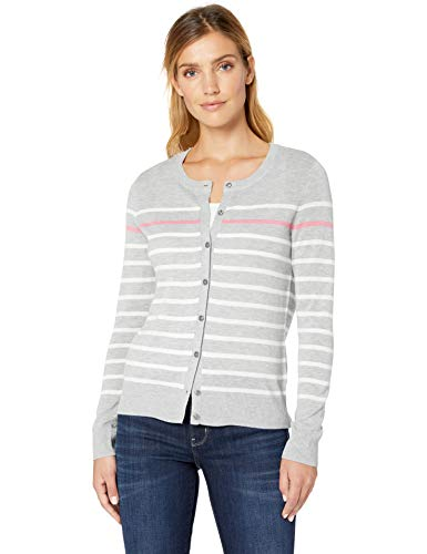 Amazon Essentials Damen Standard Strickjacke, Grau (Grey Stripe Gst), Large (Herstellergröße:Large)