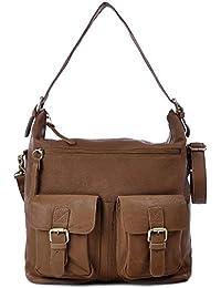 MASQUENADA, Cntmp, Damen Schultertaschen, Hobo-Bags, Handtaschen, Umhängetaschen, DIN-A4, Leder, 30x33x13cm (B x H x T)