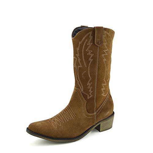 Kick Footwear Saque de Calzado de Damas A Mitad de La Pantorrilla Botas de - UK5/EU38, Tan Suede