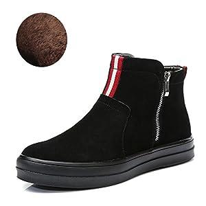 Botas de nieve invierno Hombre cañón en botas Coreano corto botas Hola zapatos de los hombres-A Longitud del pie=24.3CM(9.6Inch)