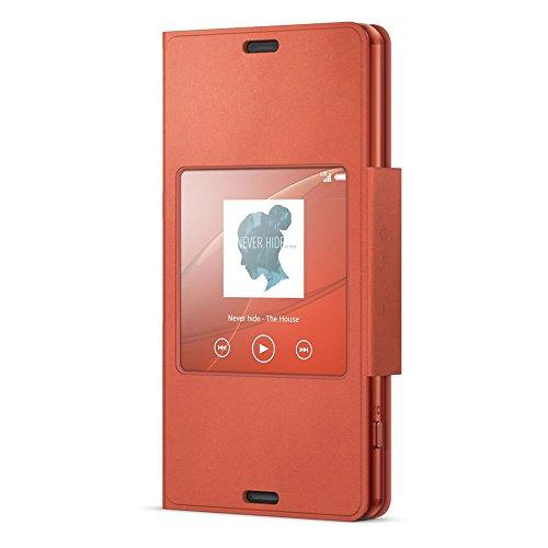 Sony SCR26 - Funda para móvil Sony Xperia Z3 Compact (con función ventana), naranja