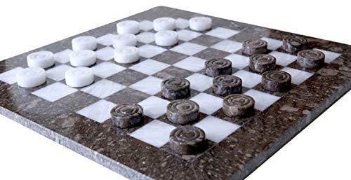 Radicaln Checkers Brettspiel Handmade Marble 16 Zoll Oceanic und White Two Player Designs Coffee Checker Spiel - Fun Table Tournament Checker Set Fun Board Games (Oceanic & White) (Checkers Board Spiel)