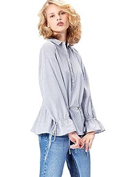 [Patrocinado]FIND Blusa Camisera con Cintura Ajustable Para Mujer