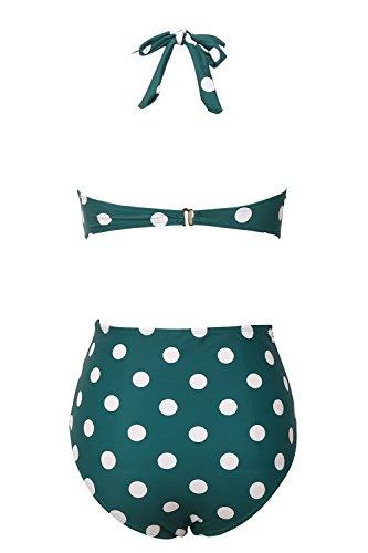 Honlyps Badeanzug mit hoher Taille, 2-teilig, Badeanzug für Damen, Bikini, Bademode, Vintage-Design mit Punkten - Grün - X-Large - 2