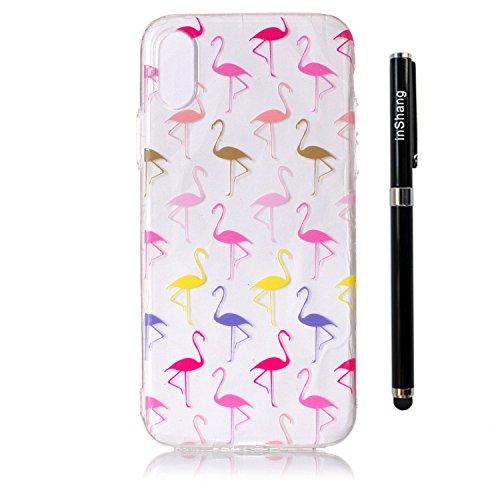 inShang iPhone X 5.8inch custodia cover del cellulare, Anti Slip, ultra sottile e leggero, custodia morbido realizzata in materiale del TPU, frosted shell , conveniente cell phone case per iPhone X 5. Flamingo