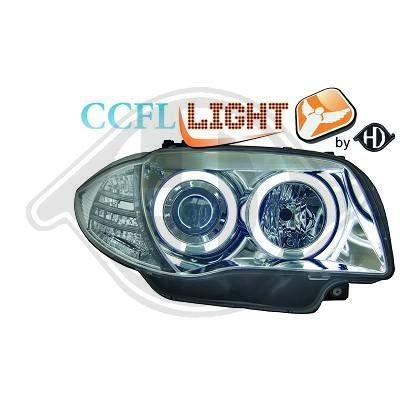 1280681, Paire de Feux Phares Angel Eyes CCFL chrome pour Serie 1, Coupe, Cabriolet, Berline E81 / 82/87 / 88 de 2004 a 2011