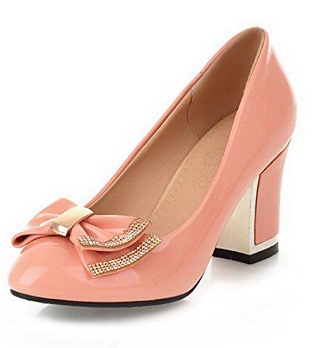 VogueZone009 Femme Rond Tire Pu Cuir Couleur Unie à Talon Haut Chaussures Légeres Rose