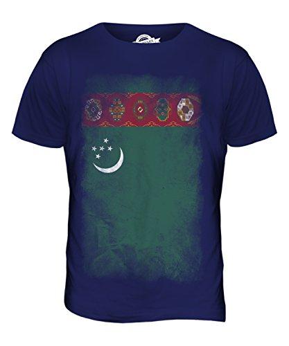 CandyMix Turkmenistan Verblichen Flagge Herren T Shirt Navy Blau