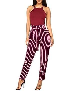 PAOLIAN Pantalones para Mujer Verano 2018 Casual Pantalones de Vestir Estampado Rayas Fiesta Pretina Cintura Alta...